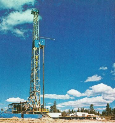 Figure 1. Drilling rig for borehole GT-2 at Fenton Hill, New Mexico, USA, which provided the zircons used in the RATE helium project and the feldspar 
