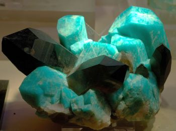 Figure 2. Microcline feldspar from Colorado. Impurities in this variety (amazonite) color the normally-white crystals blue-green.  Black crystals are smoky quartz.