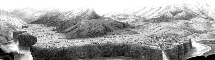 Figure 6. Illustration in Scrope (ref.16) showing an eroded river valley in basalt flows near the town of Jaujac in the Ardéche region of  France (from www.volcanism.wordpress.com).