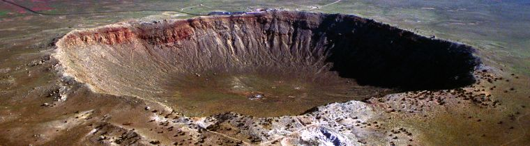 Figure 1. Arizona Meteor Crater. Originally envisioned as a crater created by a volcanic explosion, later study demonstrated it was formed by the  impact of an iron asteroid. Questions remain regarding its age but creationists interpret it as having formed after the Flood.