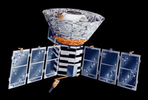 Artist's impression of the COBE satellite.