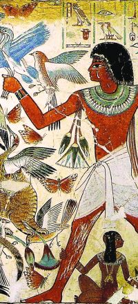 Ancient Egyptian wall painting showing butterflies