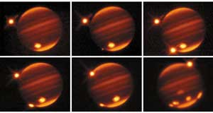 Sequence of images showing impact of Shoemaker-Levy comet fragments on Jupiter