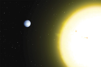 a planet orbiting a star