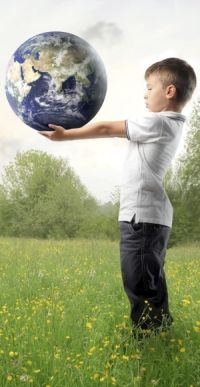 boy holding planet earth