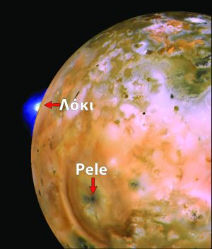 Jupiter's moon Io, showing volcanoes Loki and Pele
