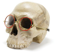 a skull wearing a pair of glasses
