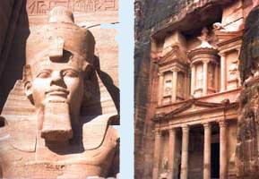 Ένα τεράστιο σκαλιστό άγαλμα του μεγάλου Φαραώ Ραμσή Β' της Αιγύπτου (αριστερά). Ερείπια από την αρχαία πόλη Πέτρα των Ναβαταίων (δεξιά).