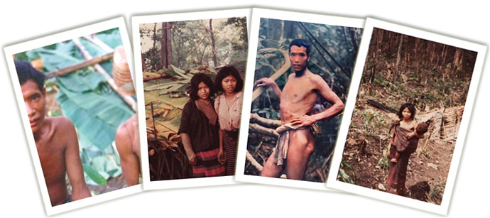 A montage of photos of Mlabri people