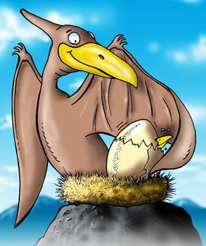 Μια γελοιογραφία της pterosaur κάθεται στα αυγά σε μια φωλιά