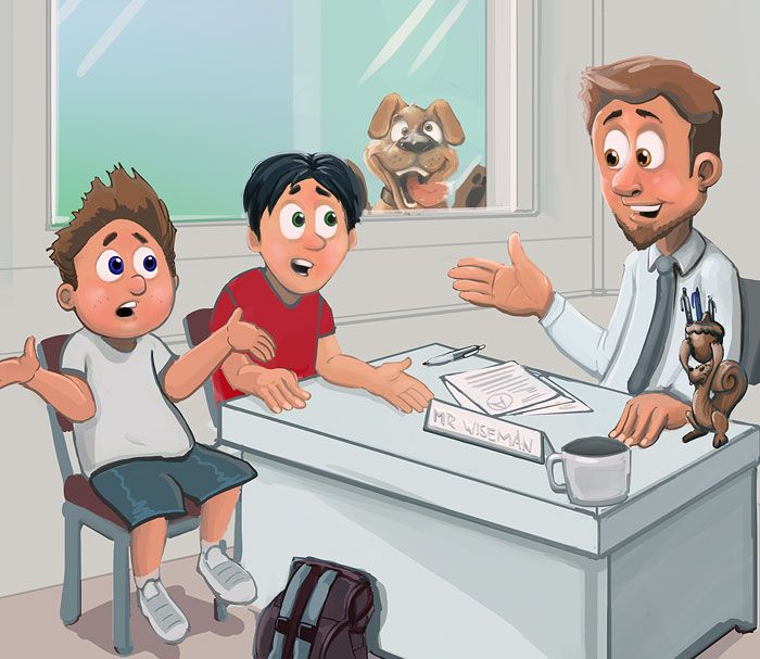 cartoon of Tom and Matt asking teacher Mr Wiseman about God