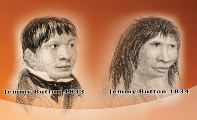 Джемми Баттон в 1833 и 1834 гг.