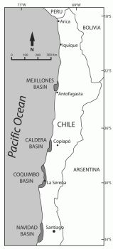 map showing sedimentary basins on west coast of northern Chile